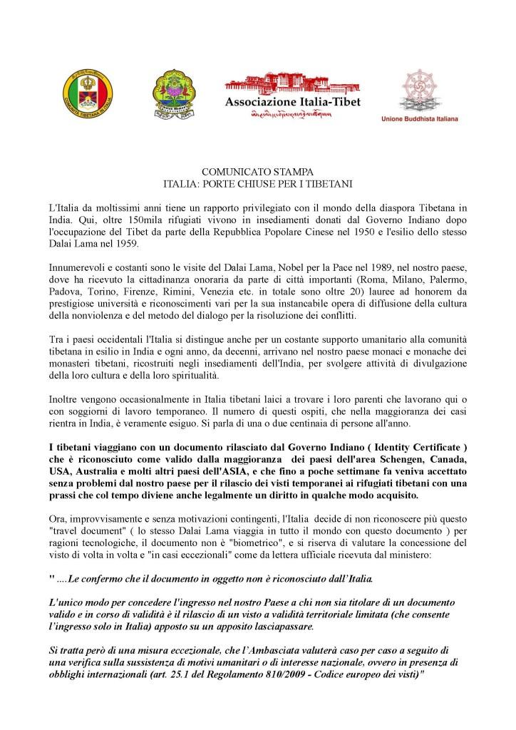 Italia: porte chiuse ai Tibetani
