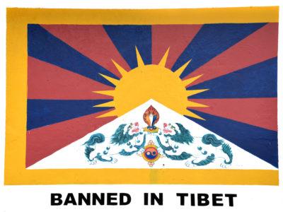 la bandiera tibetana bannata in Cina