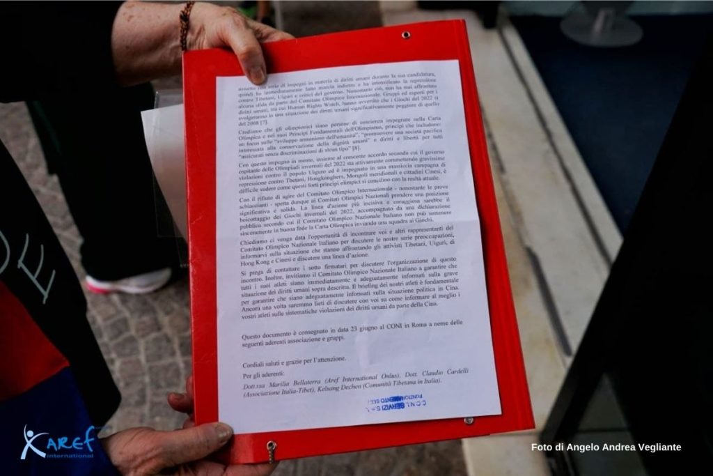 boicottaggio giochi pechino 2022 sit in roma
